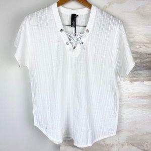 Bobi White V-Neck Lace Up Dolman Short Sleeve Top